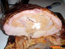 Interior view of a Turducken - turkey stuffed with duck stuffed with chicken - all of which were deboned competley.