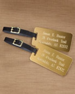 For the Corporate Lady or Gentleman or Those Who Value Quality The Brass Engraved Luggage Tag with Leather Straps