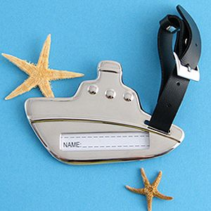 A Silver Luggage Tag in the Shape of a Cruise Ship