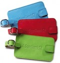 Bright Blue Red Apple Green Leather Luggage Tags