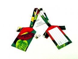 Tropical Luggage Tags in Bright Colors of Vivid Forest Green and Red