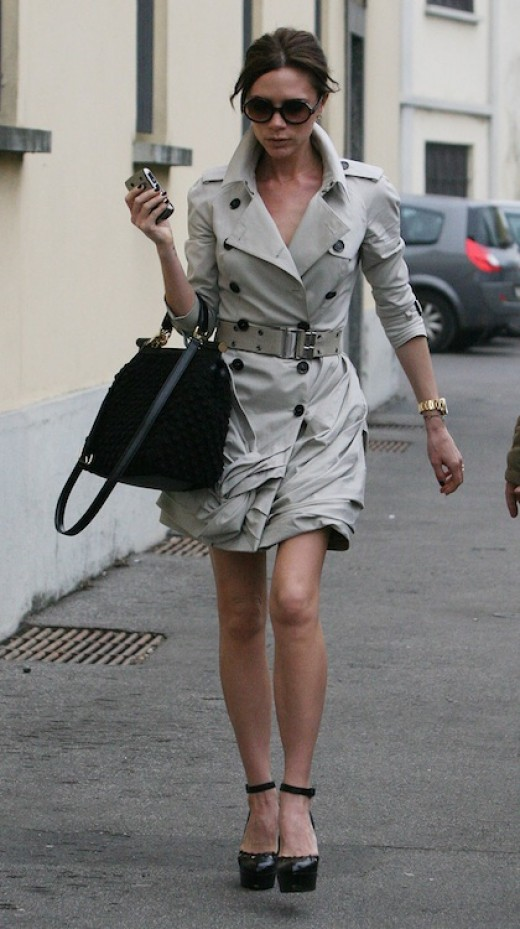 Victoria Beckham wearing today's take on the Trench from Burberry