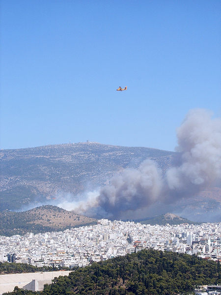 """""""Athens Burning""""--view from the Acropolis, August 2007."""