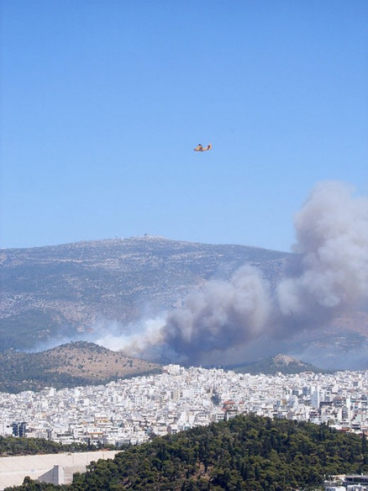 """Athens Burning""--view from the Acropolis, August 2007."