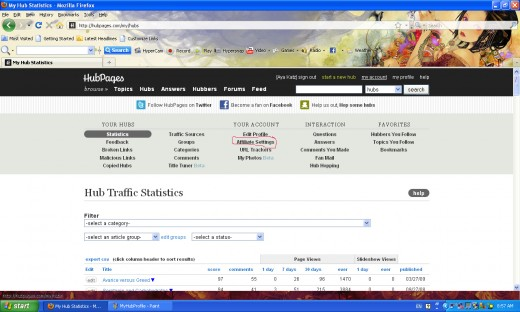 Once you have gotten to my account, you see your statistics. Click Affiliate Settings