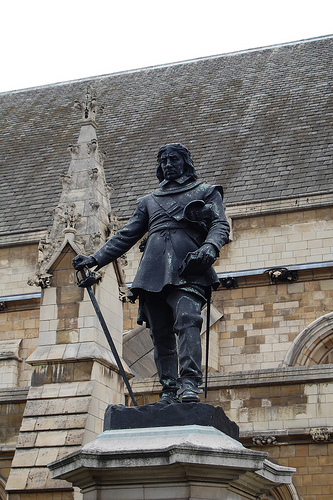 "Oliver Cromwell outside parliament in London. ""An Abomination standing in the Holy Place"". Why don't they erect a statue of Pol Pot to stand beside him?"