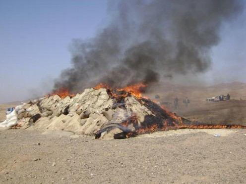 This is 60 tonnes of drugs being burned in Afghanistan