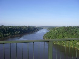 Crossing the Parana River on the way to the Iguazu Falls