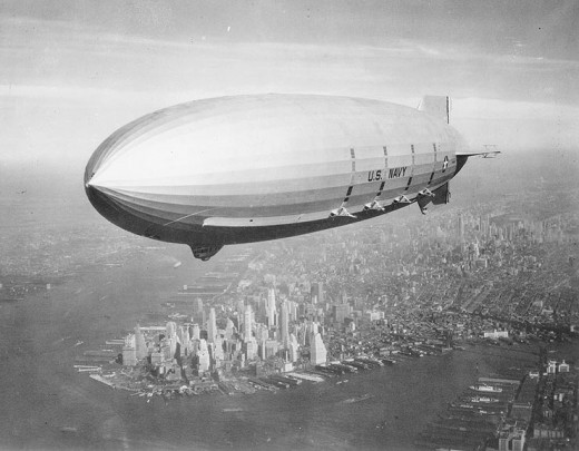Macon over New York.   There was talk about using the Empire State Building as a mooring mast.  It never happened.