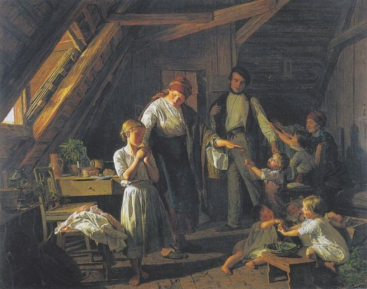 """The Parting Of The Parents,"" by Waldmuller.  Responsibility is key for intergenerational equity; here, it is transferred temporarily to the oldest daughter."