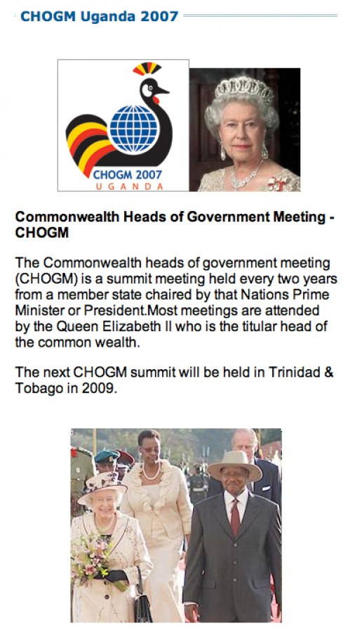 CHOGM news, 2007.  Courtesy Ugandan website http://www.ugandaonline.net/chogm.