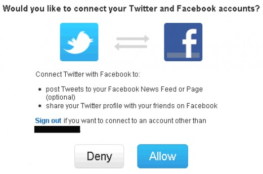 You can connect your Twitter account with your Facebook account.