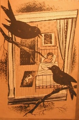 "Here is the illustration from the page facing the words: ""Calpurnia is a little girl and Buggy-horse is her dog."