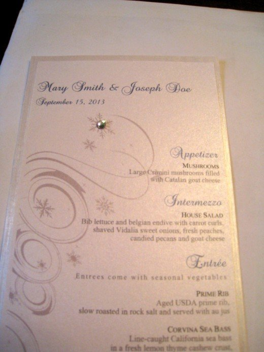 CUSTOMIZED WINTER WONDERLAND WEDDING RECEPTION MENU METALLIC PAPER WITH TWO