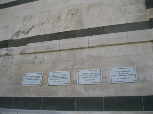 Damage done to exterior wall of Notre Dame de la Garda by fighting during liberation of Marseilles during World War II