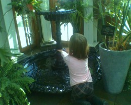 Delighting in the water flowing from the Victorian fountain in the Orangerie