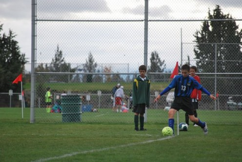 Corner kick at a soccer game