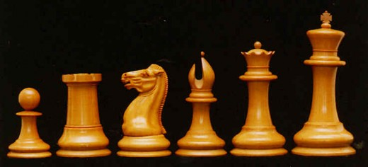 Chess pieces. From left to right: Pawn, Rook, Knight, Bishop, Queen and King.