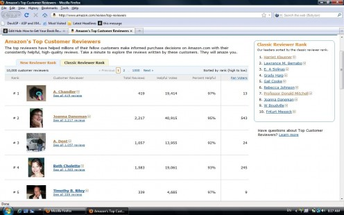This is a screen shot of what you see when you look at the Amazon.com top customer reviewers