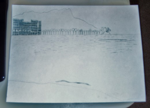 Here is yet another picture of the progress I have made of my sketch of Waikiki.  I like to take pictures of the different stages of my sketch to document my work.  Sometimes I enjoy the way a sketch looks before it is completed even.