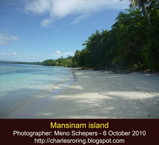 White sandy beach of Mansinam island near Manokwari city of Indonesia