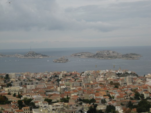 Looking over city and the islands of the Frioul Archipelago