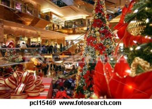 A Busy Mall for Christmas Shopping