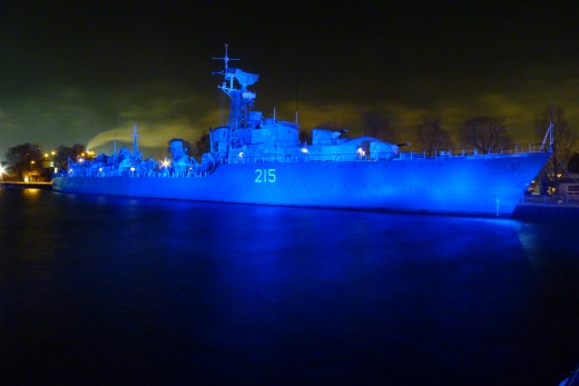 Haida Ship at night on Hamilton's Waterfront