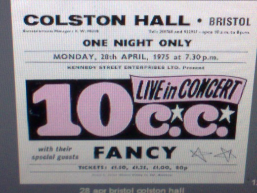 A poster advertising 10cc & special guests Fancy on the same tour I saw them on, this time from Bristol colston hall April 28th,1975. Thanks to www.minestrone.org/band