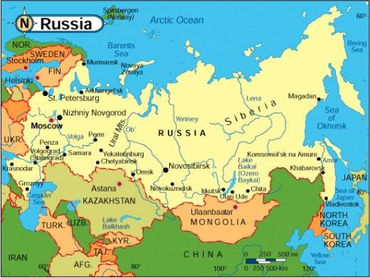 Map of Russia (former USSR) today