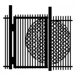 Metal gate with expanded steel mesh to guard against reach-through unauthorized entry.