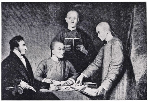 Missionary James Legge and his three Chinese students