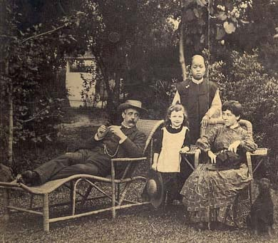 (Herbert A Giles (1845-1935)  shown in his garden at the Ningbo British Consulate in 1889)