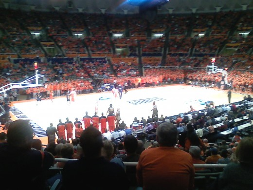 Picture of the Illinois vs Toledo basketball game on 11/10/10.  This picture is from the seats I had at the game.  Source my camera on my cell phone.