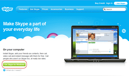 Diagram 1. The Skype for Windows download page