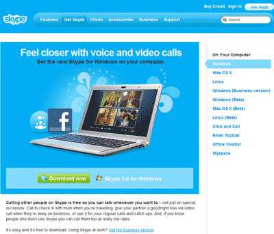 Diagram 2. The Actual download page for Skype for Windows