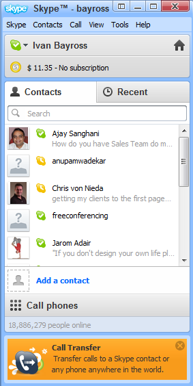 Diagram 10. Skype started up and ready to Go.