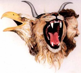 According to what we read in Ezekiel 1:4-28, there is a cherubim that is a composite of four living creatures. Many people see something like this as what is meant.