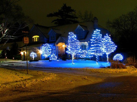 All blue Christmas lights have a stunning effect.