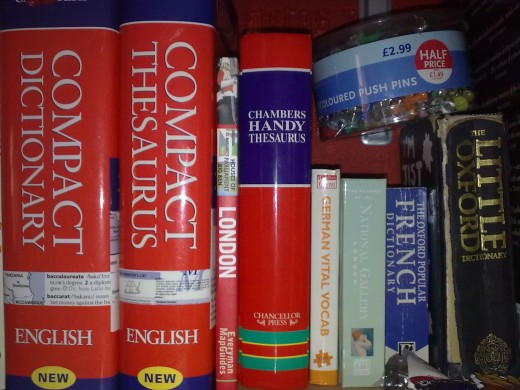 My untidy stack of random dictionaries