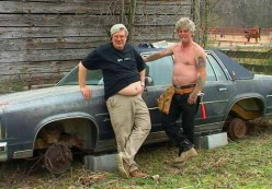 I couldn't find a picture of Bobby Rae and Billy Rae working on their car, but this should give you an idea.