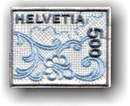 Switzerland's first embroidered stamp