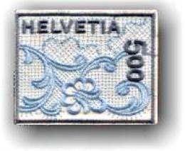 Switzerland's first embroidered stamp