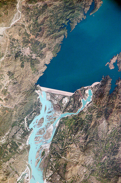Satellite view of the Tarbela Dam.