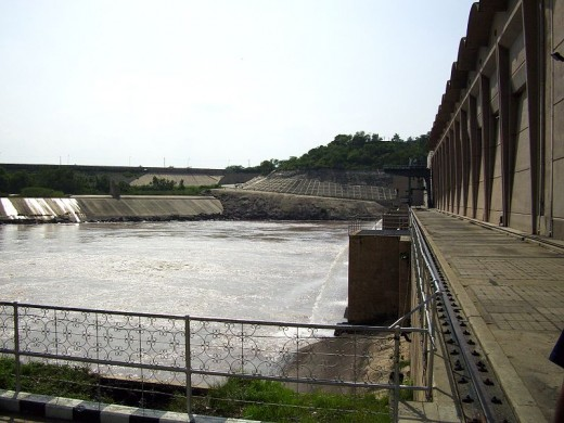 Power house at the Mangla Dam.