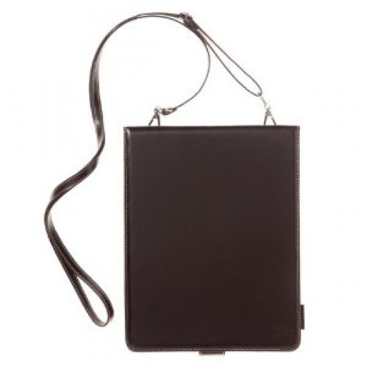 Simplism Leather Collection Shoulder Leather Case for iPad Chocolate Black
