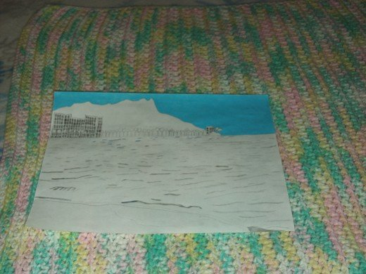 The blue has been completed shaded in the sky surrounding Diamond Head.