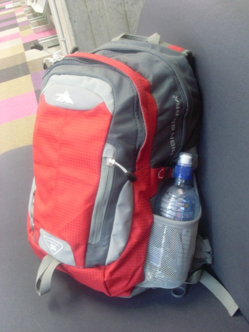 The very light backpack I am traveling with.