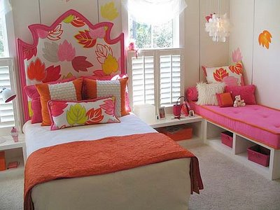 This design would work equally well in a boy's room - though obviously the fabric and paint will need to be changed.  When designing a headboard for your child, make sure to use child friendly fabrics!