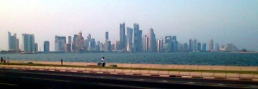 doha west bay viewed from the corniche